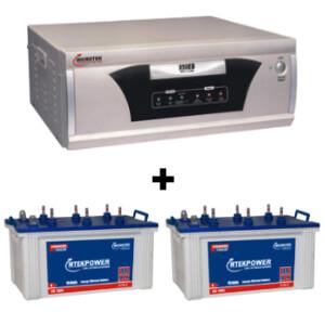 Microtek 24x7 Hybrid 1650 VA Home UPS and 2pcs MtekPower EB 1800TT