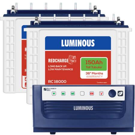 Luminous Eco Watt 1650 Home UPS and 2pcs Luminous Red Charge TT18000